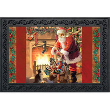 Briarwood Lane Santa By The Fireplace Doormat #D00087