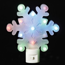 LED Flicker Snowflake Night Light Swivel Plug  #160002