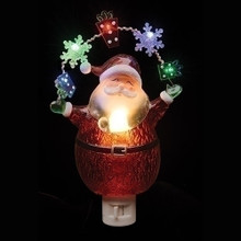 "7.75"" Santa Night Light LED Garland with  Bulbs & Swivel Plug #164072"