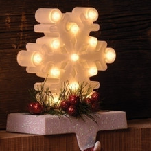 "6.5""Snowflake Warm White LED Stocking Holder, Battery-Operated #30431"