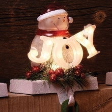 "7"" LED Snowman Joy Stocking Holder, Battery-Operated  #30434"