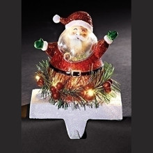 "7"" LED Santa Stocking Holder, Battery-Operated #31250"