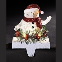 "7"" LED Snowman Stocking Holder, Battery-Operated #31251"
