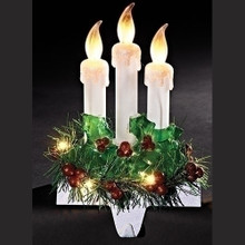 "8.5"" LED Flickering Candles Stocking Holder, Battery-Operated #31951"