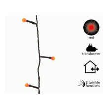Twinkling Cherry LED Light String -Red, Black Wire #780148