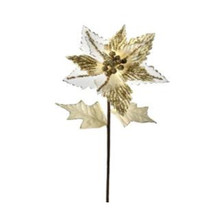 """28"""" Tall Champagne Glitter Velvet Sheer Poinsettia Stem #MTX48943"""