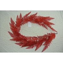 "60"" Red Glitter Lace Fern Garland #MTX52312"