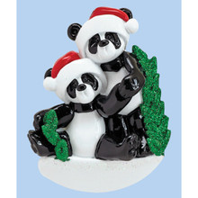 Rudolph & Me Bamboo Panda Family of 2 Personalized Ornament #1207-2