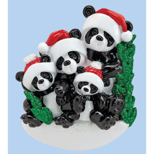Rudolph & Me Bamboo Panda Family of 4 Personalized Ornament #1207-4