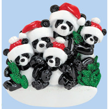 Rudolph & Me Bamboo Panda Family of 5 Personalized Ornament #1207-5