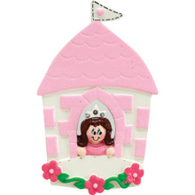 Rudolph & Me Brunette Princess In Castle Personalized Ornament #913B