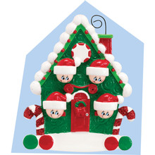 Rudolph & Me Candy Cane House Family of 4 Personalized Ornament #994-4