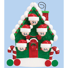 Rudolph & Me Candy Cane House Family of 5 Personalized Ornament #994-5
