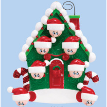 Rudolph & Me Candy Cane House Family of 7 Personalized Ornament #994-7