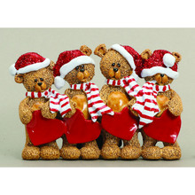 Rudolph & Me 4 Stocking Cap Bears Family Personalized Ornament #TT205-4