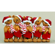 Rudolph & Me 5 Stocking Cap Bears Family Personalized Ornament #TT205-5