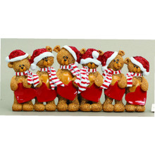Rudolph & Me 6 Stocking Cap Bears Family Personalized Ornament #TT205-6