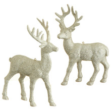 RAZ Platinum Glittered Deer Ornament, 2 Assorted #3409632