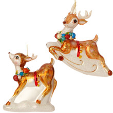 RAZ Glittered Vintage Deer Ornament, 2 Assorted #3520005