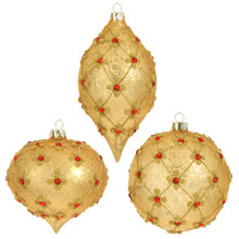 RAZ Gold Antique Beaded Ornament, 3 Assorted #3522853