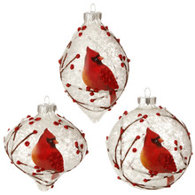 RAZ Frosted Snowy Cardinal Ornament, 3 Assorted #3524508
