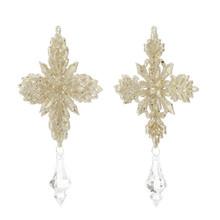 RAZ Gold Glittered Snowflake Drop Ornament, 2 Assorted #3609606
