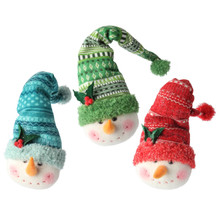 RAZ Stocking Hat Snowman Head Ornament, 3 Assorted #3616528
