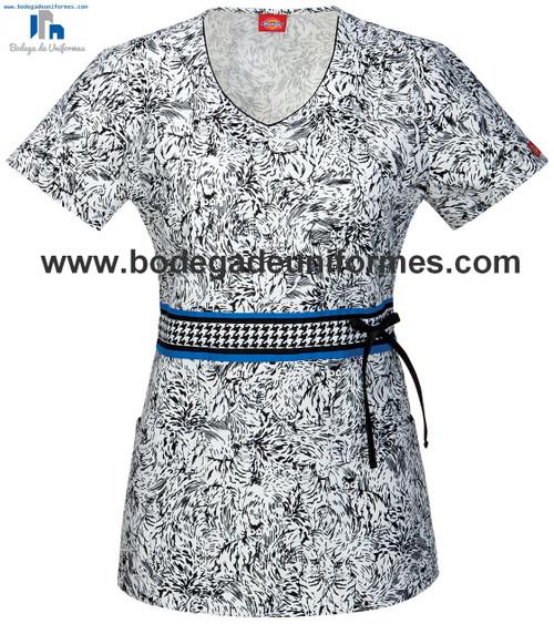 Dickies Medical 82915CB Filipina Estampada con Cuello V para Mujer