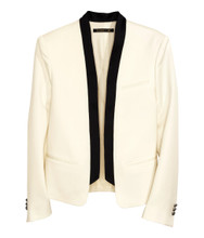 Cheap Balmain For H&M Wool Jacket With Shawl Collar - White #24-4232