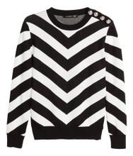 Cheap Balmain For H&M Jacquard Knit Cotton Sweater - Black/White Striped #24-4833