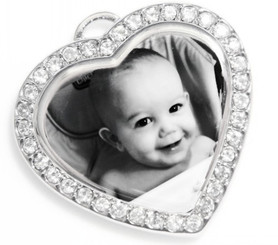 Photo Engraved Cubic Heart Pendant