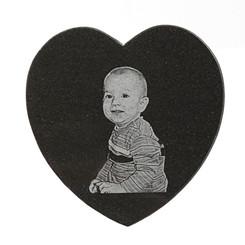 Photo Engraved Heart Marble Tile