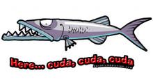Aquatic Addiction Here... Cuda Fishing Decal Sticker