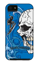 Surfing Half Skull (blue) iPhone Cases