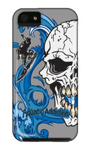 Aquatic Addiction Surfing Half Skull (gray) iPhone Cases