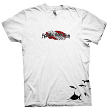 AQUATIC ADDICTION DIVE SHIRT - SHARKS - WHITE COLORED TEE (front)