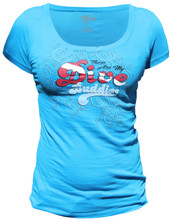 Ladies DIVE BUDDIES scoop tee - front - blue