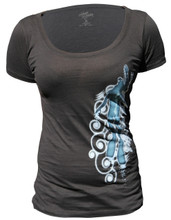 Ladies SWIRLS scoop tee - front - black