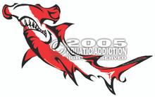 Aquatic Addiction Tribal Hammerhead Scuba Dive Decal Sticker