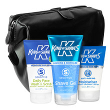 Wash, Shave, Moisturise + Toiletry Bag Travel Kit (in Black)