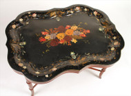 Victorian Paint Decorated Tole 19th Century Tray of Impressive Size on Stand!