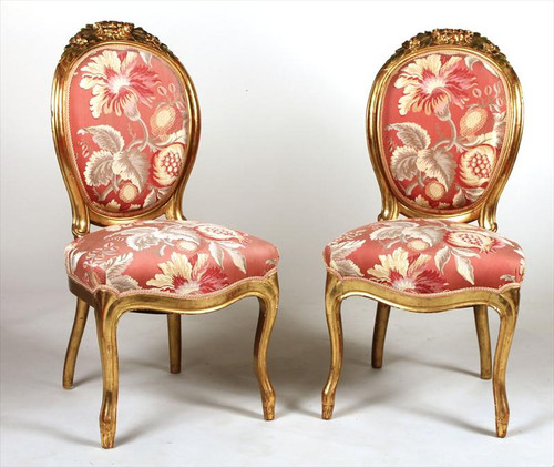 19th Century Pair of Louis XV Style Giltwood Carved Side Chairs