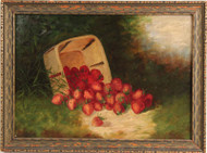 Oil Painting on Board - Still Life of a Basket of Strawberries