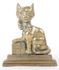 "A Late  Rare 19th Century Cast Brass English Door Stop entitled,  ""Ye Cheshire Cat"""