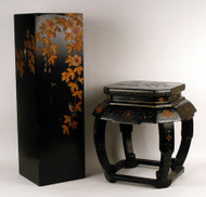 Chinese Import Stand and Stool in Gilt Black Lacquer - Sold Separately