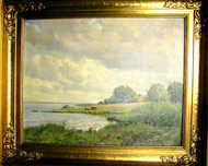 Oil on Canvas of the Bucolic Danish Coastline Rorvig Alfred Broge