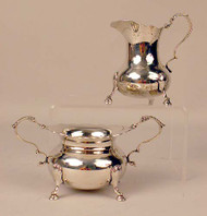 Sterling Silver Footed Open Sugar Bowl and Cream Jug