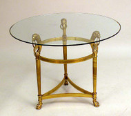 Neoclassical Style Brass and Glass Side Table