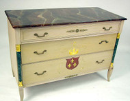 Neoclassical Style Hand Paint- Decorated and Faux Marbleized Chest of Drawers