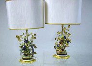 Mangani Floral and Bird- Decorated Parcel Gilt and Porcelain Lamps